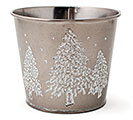 "4"" POT COVER WITH RAISED CHRISTMAS TREES"