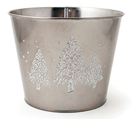 """6"""" POT COVER WITH RAISED CHRISTMAS TREES"""
