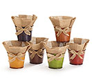 "4"" TIN POT COVER WITH BURLAP ASSORTMENT"