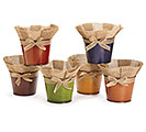 "6"" TIN POT COVER WITH BURLAP ASSORTMENT"