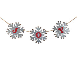TIN SNOWFLAKES WITH JOY IN RED
