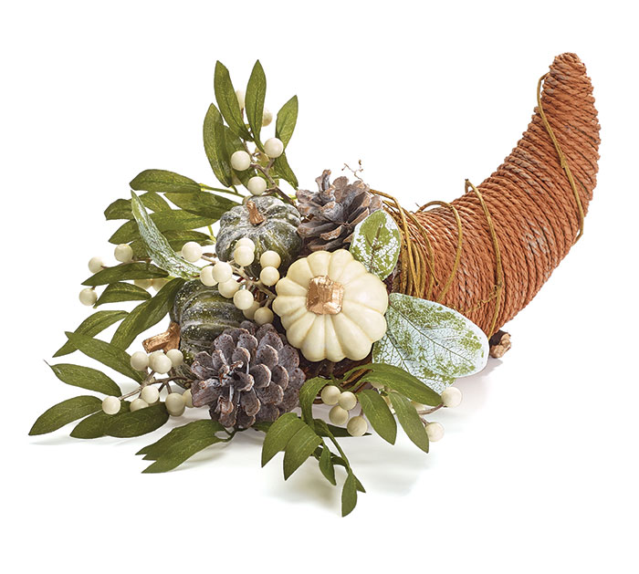 WHITE AND FROSTED PUMPKIN CORNUCOPIA