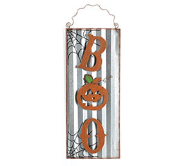 BOO WALL HANGING CORRUGATED TIN
