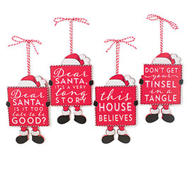 SANTA ORNAMENTS WITH ASSORTED MESSAGES