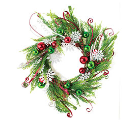 22 christmas wreath with decorations - Christmas Greenery Wholesale