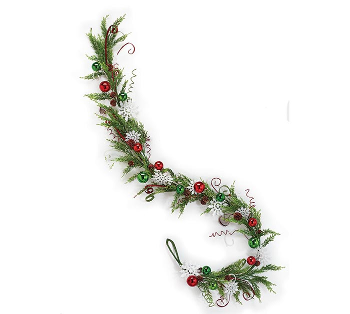 "65"" GARLAND WITH SNOWFLAKES/ORNAMENTS"
