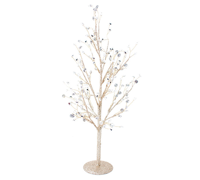 GOLD GILTTER TREE WITH MIRROR LEAVES
