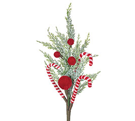 """21"""" FLORAL PICK WITH CANDY CANES"""