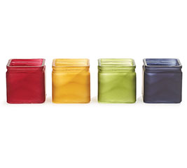 FROSTED FALL COLORED GLASS CUBE VASES