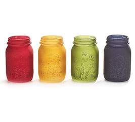 PINT SIZE MASON JARS FALL FROSTED COLORS