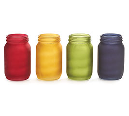 QUART SIZE MASON JAR FROSTED FALL COLORS