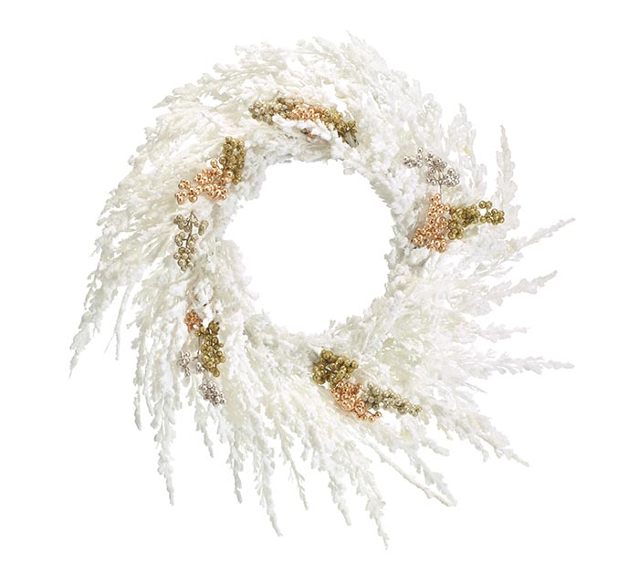"24"" WHITE FLOCKED CHRISTMAS WREATH"
