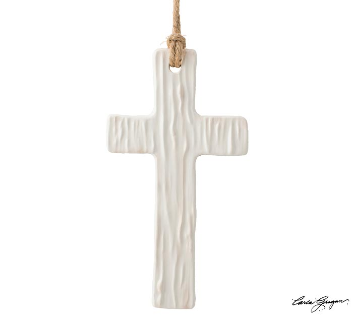 LARGE IVORY CROSS SHAPE WITH TEXTURE