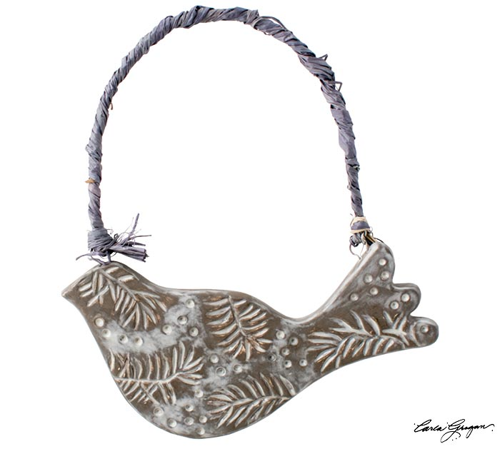 DARK GRAY CLAY BIRD SHAPE ETCHED DESIGN