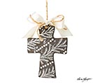 GRAY CLAY CROSS ETCHED DESIGN ORNAMENT