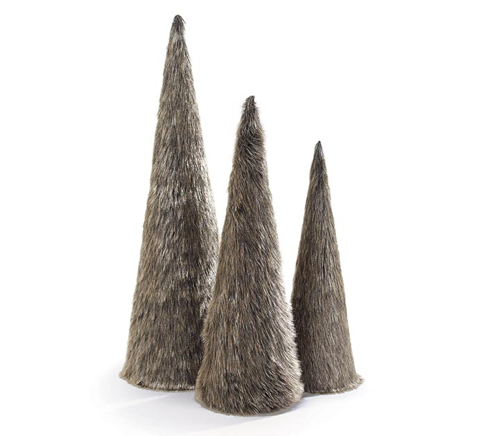 FAUX FUR CONE TREES IN VARIED SIZES