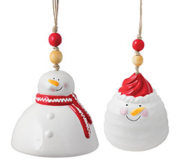 ASTD SNOWMAN RED  WHITE WIND CHIMES