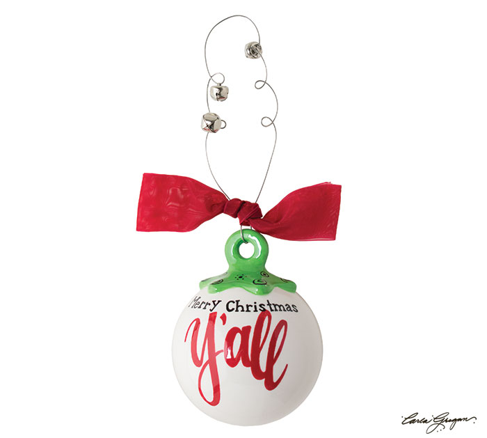 MERRY CHRISTMAS YALL ORNAMENT BALL SHAPE
