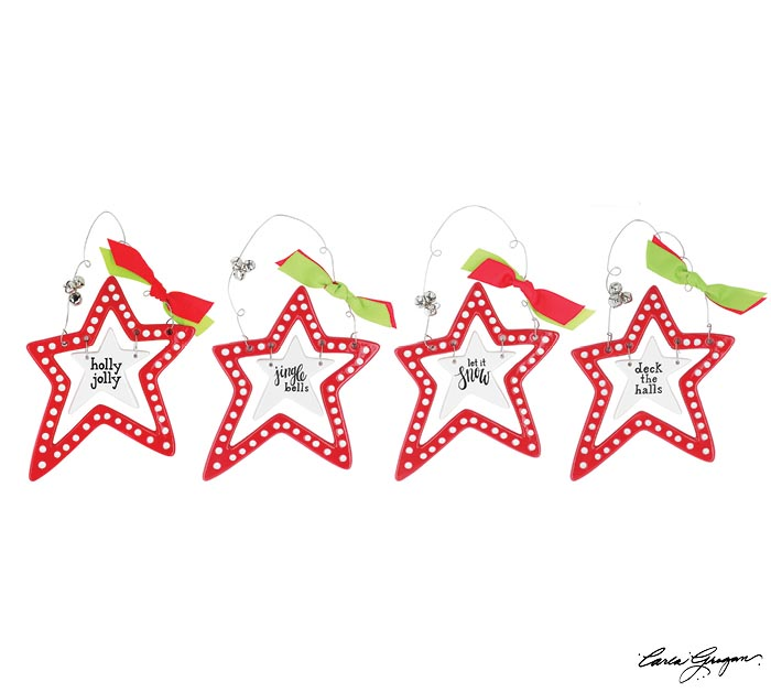 RED/WHITE OPEN LAYERED STAR ORNAMENT