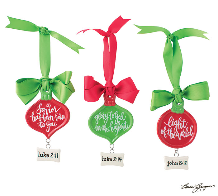 FLAT RED  GREEN ORNAMENTS WITH VERSES