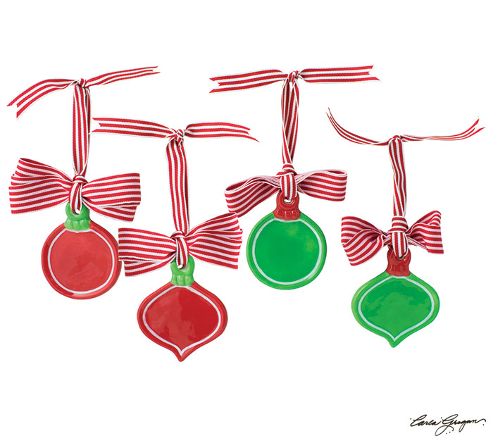 RED/GREEN ORNAMENTS FOR PERSONALIZING