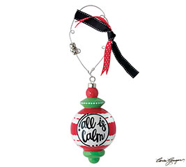 ALL IS CALM RED/GREEN STRIPE ORNAMENT