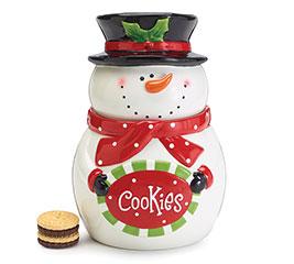 SNOWMAN COOKIE JAR HOLDING COOKIE SIGN