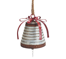 RUSTIC TIN BELL WITH BOW AND HANGER