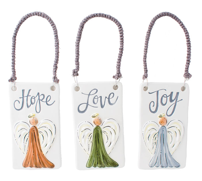 ANGELS WITH ASSORTED MESSAGE ORNAMENTS