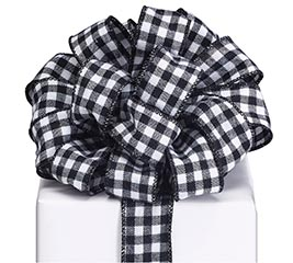 #9 BLACK WHITE CHECK RIBBON