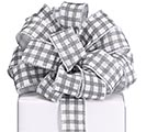 #9 GRAY WHITE CHECK RIBBON
