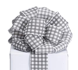 #40 GRAY WHITE CHECK RIBBON