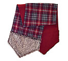 "72"" RED/GRAY PLAID TABLE RUNNER WITH FUR"