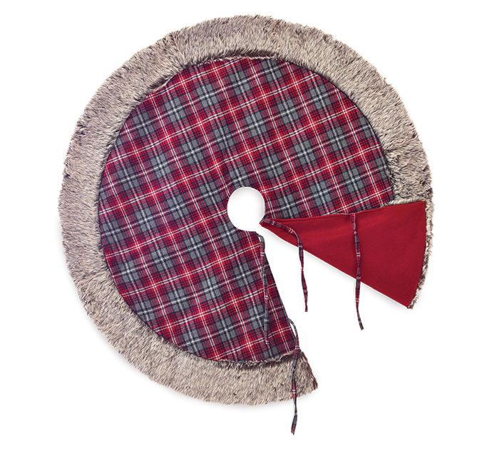 "48"" ROUND RED AND GRAY PLAID TREE SKIRT"