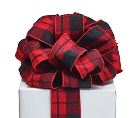 #40 RED/BLACK PLAID RIBBON