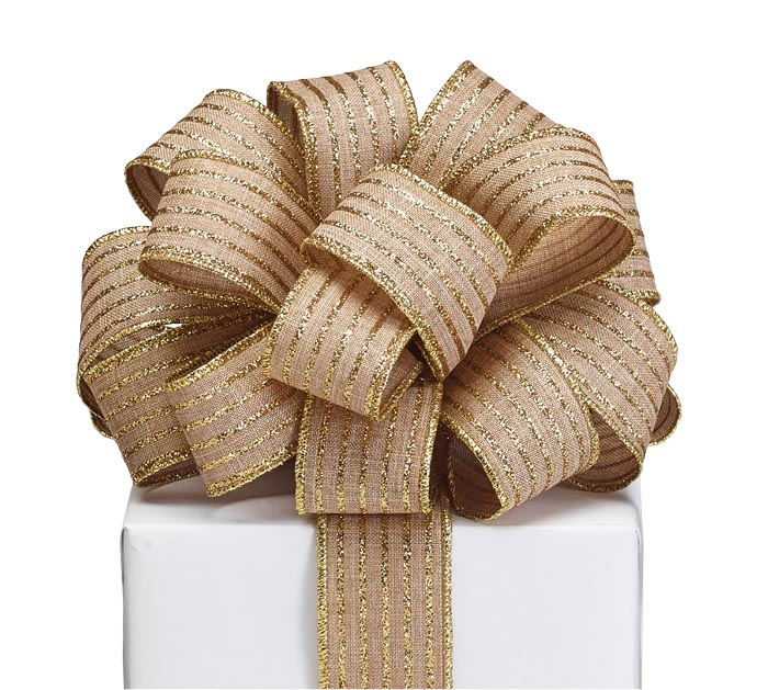 #9 GLITTER GOLD STRIPE ON KHAKI RIBBON