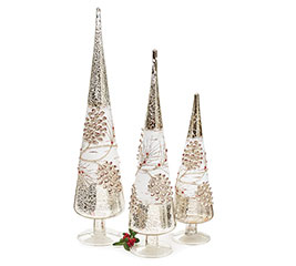 MERCURY GLASS CONE SHAPED TREE SET