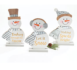 SNOWMEN SHELF SITTERS WITH ASTD MESSAGE