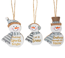 SNOWMAN ORNAMENT ASTD WITH MESSAGES