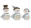 XL SNOWMAN ASTD WITH GOLD MESSAGES