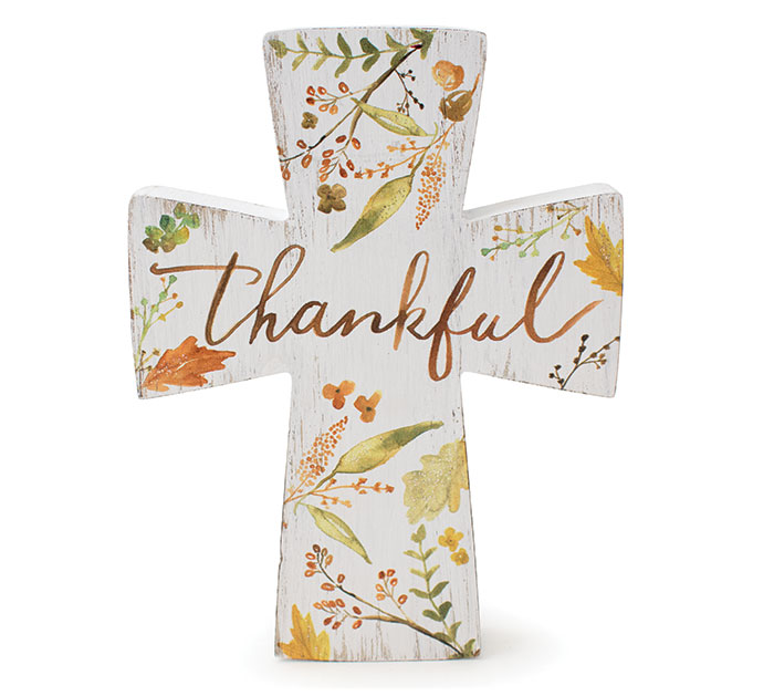 THANKFUL CROSS SHELF SITTER
