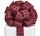 #9 GRAY BLACK RED PLAID RIBBON