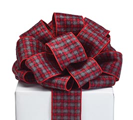 #40 GRAY BLACK RED PLAID RIBBON