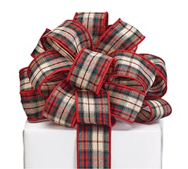 #9 RED BLACK TAN PLAID RIBBON