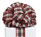 #40 RED BLACK TAN PLAID RIBBON