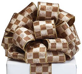 #40 TAN/BROWN REVERSIBLE GOLD RIBBON