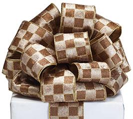 40 tanbrown reversible gold ribbon