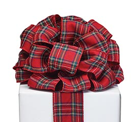 40 red tartan plaid ribbon