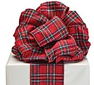 #100 RED TARTAN PLAID RIBBON