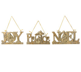 GOLD GLITTER WORD ORNAMENTS